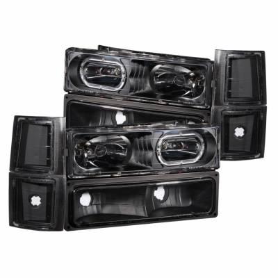 Anzo USA - Anzo USA 111102 Crystal Headlight Set w/ LED Halo/Parking/Corner Lenses-Black