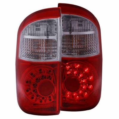 Anzo USA - Anzo USA 311060 Chrome LED Tail Light Set-Red/Clear Lens