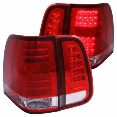 Anzo USA - Anzo USA 311076 Chrome LED Tail Light Set-Red/Clear Lens