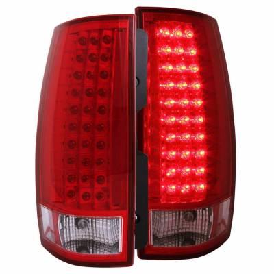 Anzo USA - Anzo USA 311082 Chrome LED Tail Light Set-Red/Clear Lens