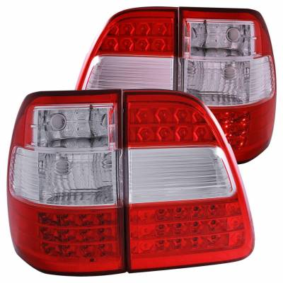 Anzo USA - Anzo USA 311094 Chrome LED Tail Light Set-Red/Clear Lens