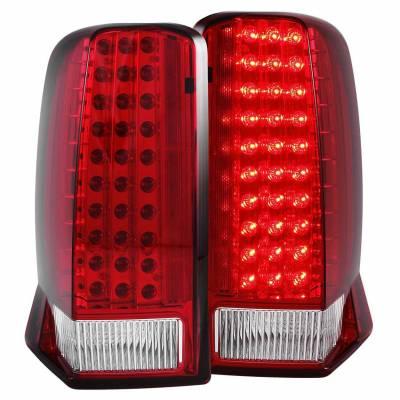 Anzo USA - Anzo USA 311120 Chrome LED Tail Light Set-Red/Clear Lens