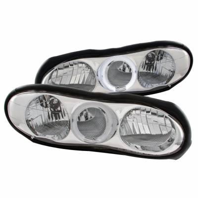 Anzo USA - Anzo USA 121025 Crystal Headlight Set w/ LED Halo-Chrome