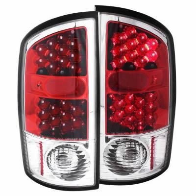 Anzo USA - Anzo USA 311133 Chrome LED Tail Light Set-Red/Clear Lens