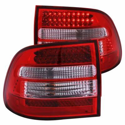 Anzo USA - Anzo USA 321170 Chrome LED Tail Light Set-Red/Clear Lens
