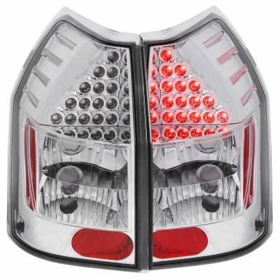 Anzo USA - Anzo USA 321016 Chrome LED Tail Light Set-Clear Lens