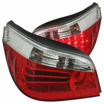 Anzo USA - Anzo USA 321006 Chrome LED Tail Light Set-Red/Clear Lens