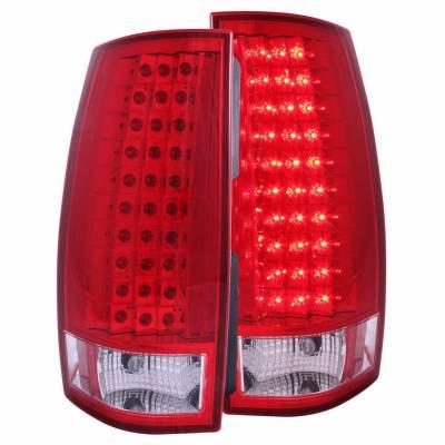 Anzo USA - Anzo USA 311140 Chrome LED Tail Light Set-Red/Clear Lens