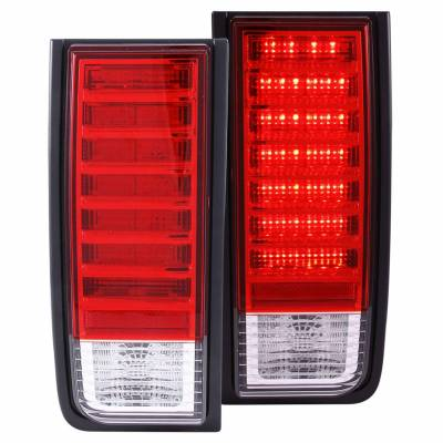 Anzo USA - Anzo USA 311068 Chrome LED Tail Light Set-Red/Clear Lens