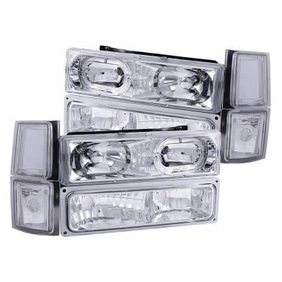 Anzo USA - Anzo USA 111101 Crystal Headlight Set w/ LED Halo/Parking/Corner Lenses-Chrome