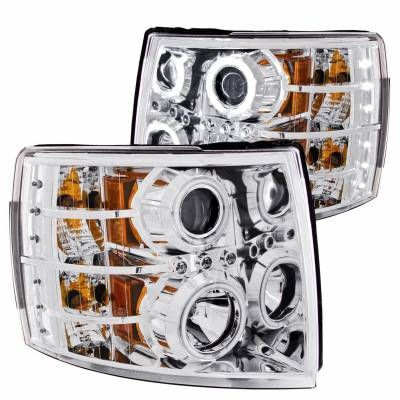 Anzo USA - Anzo USA 111086 Projector Headlight Set w/ CCFL Halo-Chrome