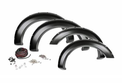 Rough Country Suspension Systems - Rough Country F-D10911 Pocket Style Fender Flares w/ Rivets fits Chrome Bumper Models