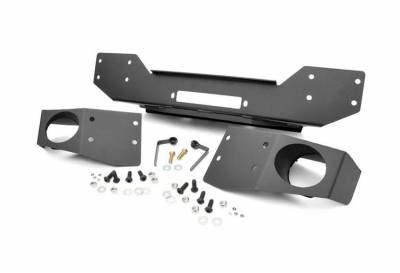 Rough Country Suspension Systems - Rough Country 1062 Hybrid Stubby Front Winch Mount Bumper w/ Fog Light Mounts