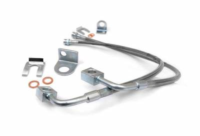 """Rough Country Suspension Systems - Rough Country 89708 Extended Stainless Steel Rear Brake Lines 4-6"""" Lift"""