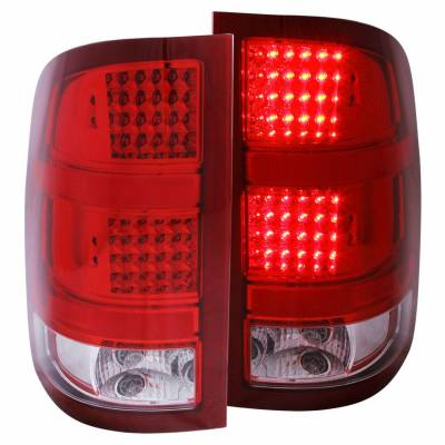 Anzo USA - Anzo USA 311089 Chrome LED Tail Light Set-Red/Clear Lens