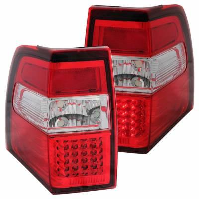 Anzo USA - Anzo USA 311108 Chrome LED Tail Light Set-Red/Clear Lens