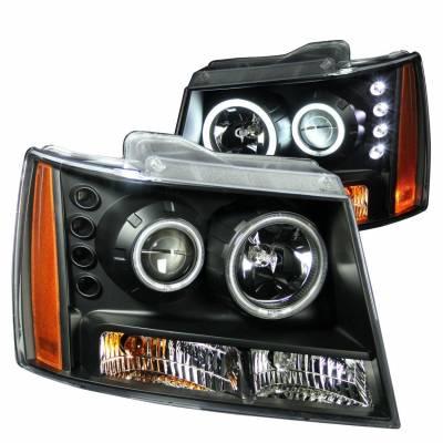 Anzo USA - Anzo USA 111109 Projector Headlight Set w/ CCFL Halo-Black