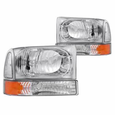 Anzo USA - Anzo USA 111081 Crystal Headlight Set w/ Corners-Chrome