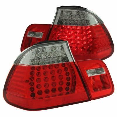 Anzo USA - Anzo USA 321004 Chrome LED Tail Light Set-Red/Clear Lens