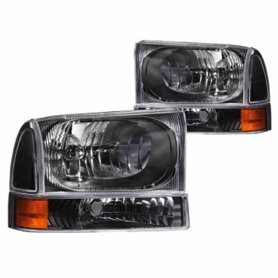 Anzo USA - Anzo USA 111080 Crystal Headlight Set w/ Corners-Black