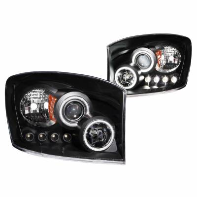 Anzo USA - Anzo USA 111104 Projector Headlight Set w/ CCFL Halo-Black