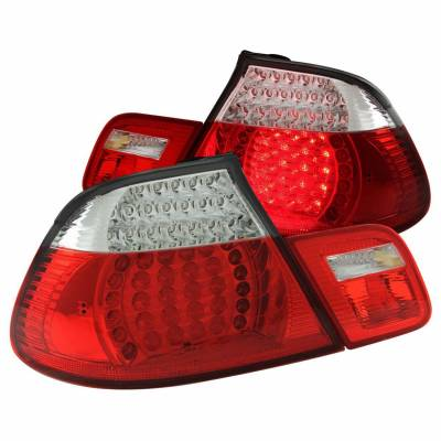 Anzo USA - Anzo USA 321185 Chrome LED Tail Light Set-Red/Clear Lens