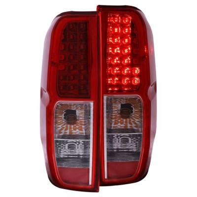 Anzo USA - Anzo USA 311071 Chrome LED Tail Light Set-Red/Clear Lens