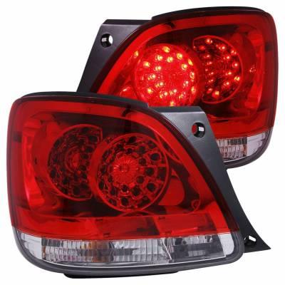 Anzo USA - Anzo USA 321101 Chrome LED Tail Light Set-Red/Clear Lens