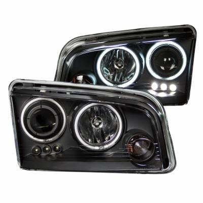 Anzo USA - Anzo USA 121218 Projector Headlight Set w/ CCFL Halo-Black