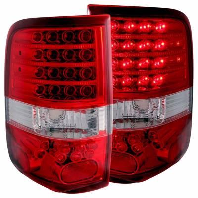 Anzo USA - Anzo USA 311022 Chrome LED Tail Light Set-Red/Clear Lens