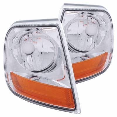 Anzo USA - Anzo USA 521026 Euro Clear Lens Corner Light Set-Harley Davidson Style