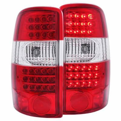 Anzo USA - Anzo USA 311100 Chrome LED Tail Light Set-Red/Clear Lens
