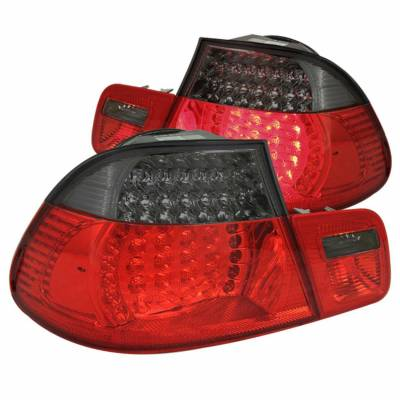 Anzo USA - Anzo USA 321127 Chrome LED Tail Light Set-Red/Smoke Lens