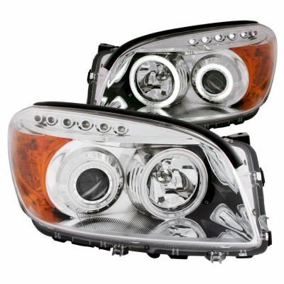 Anzo USA - Anzo USA 111121 Projector Headlight Set w/ CCFL Halo-Chrome