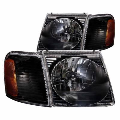 Anzo USA - Anzo USA 111041 Crystal Headlight Set w/ Corners-Black