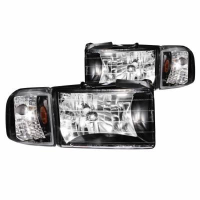Anzo USA - Anzo USA 111067 Crystal Headlight Set w/ Corners-Black