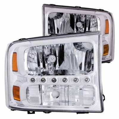 Anzo USA - Anzo USA 111088 Crystal 1-Piece Headlight Set-Chrome