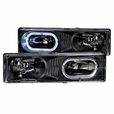 Anzo USA - Anzo USA 111007 Crystal Headlight Set w/ LED Halo-Black