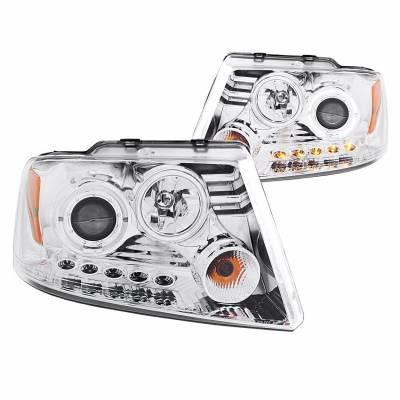 Anzo USA - Anzo USA 111029 Projector Headlight Set w/ LED Halo-Chrome