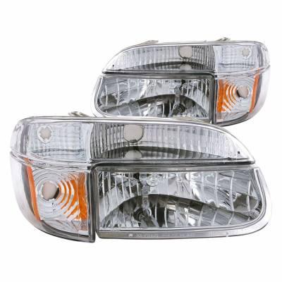 Anzo USA - Anzo USA 111040 Crystal Headlight Set w/ Corners-Chrome