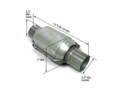"""SLP Performance - SLP Performance M310193500 High-Flow Catalytic Converter 2.5"""" In/Out, Each"""