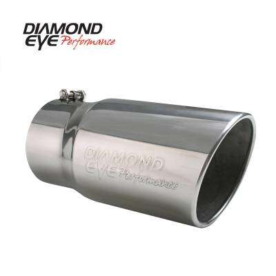 "Diamond Eye - Diamond Eye 4512BRA-DE Tip Bolt-on Rolled Angle Cut-Diamond Eye Logo Embossed 4"""
