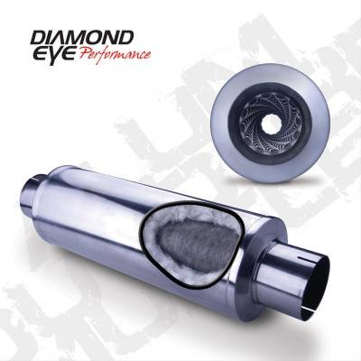 """Diamond Eye - Diamond Eye 460033 Muffler 4"""" Single In Single Out Stainless Perforated Packed L"""