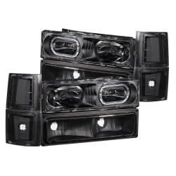 Anzo USA - Anzo USA 111102 Crystal Headlight Set w/ LED Halo/Parking/Corner Lenses-Black - Image 1
