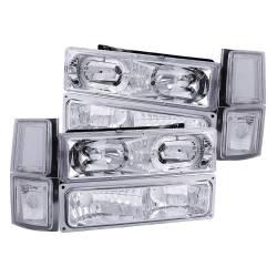 Anzo USA - Anzo USA 111101 Crystal Headlight Set w/ LED Halo/Parking/Corner Lenses-Chrome - Image 1