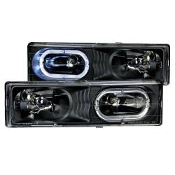 Anzo USA - Anzo USA 111007 Crystal Headlight Set w/ LED Halo-Black - Image 1