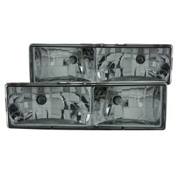 Anzo USA - Anzo USA 111061 Crystal Headlight Set-Chrome w/ Smoke Lens - Image 1